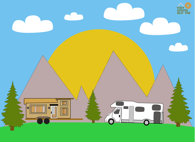tiny house parked on the campground illustration