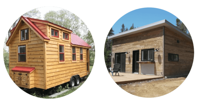tiny house on wheels and on land