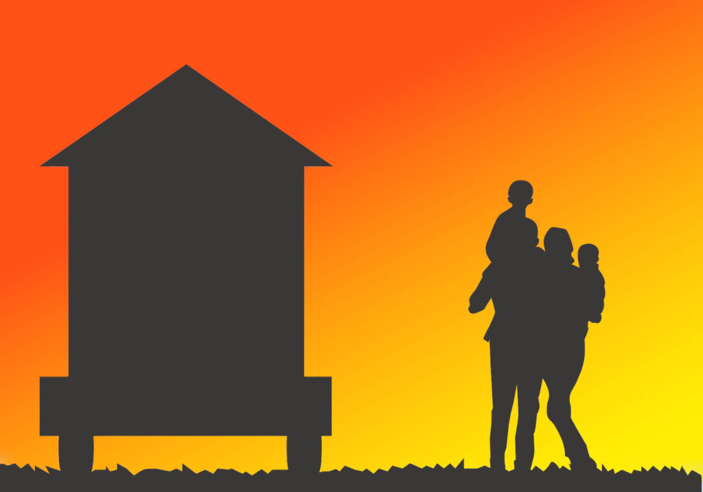 tiny house and family shadow illustration