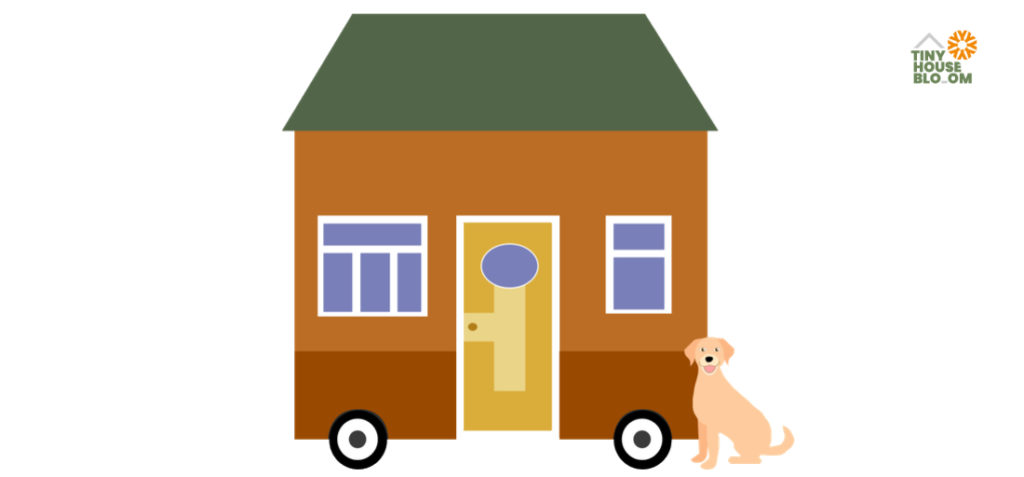 cute dog in fron of a tiny house - illustration
