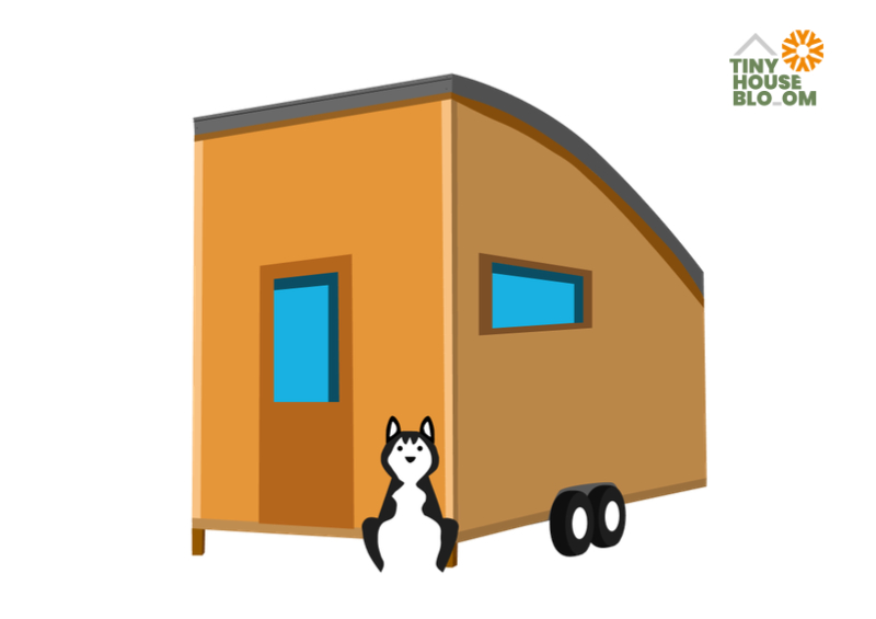 tiny house on wheels and a dog
