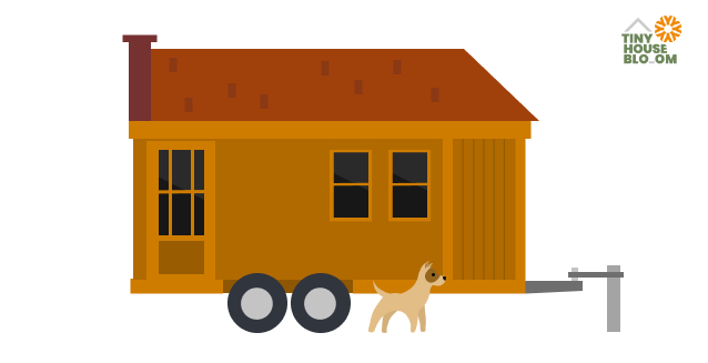 tiny house and tiny dog illustrated