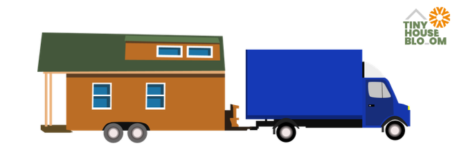 blue truck towing a tiny house illustrated