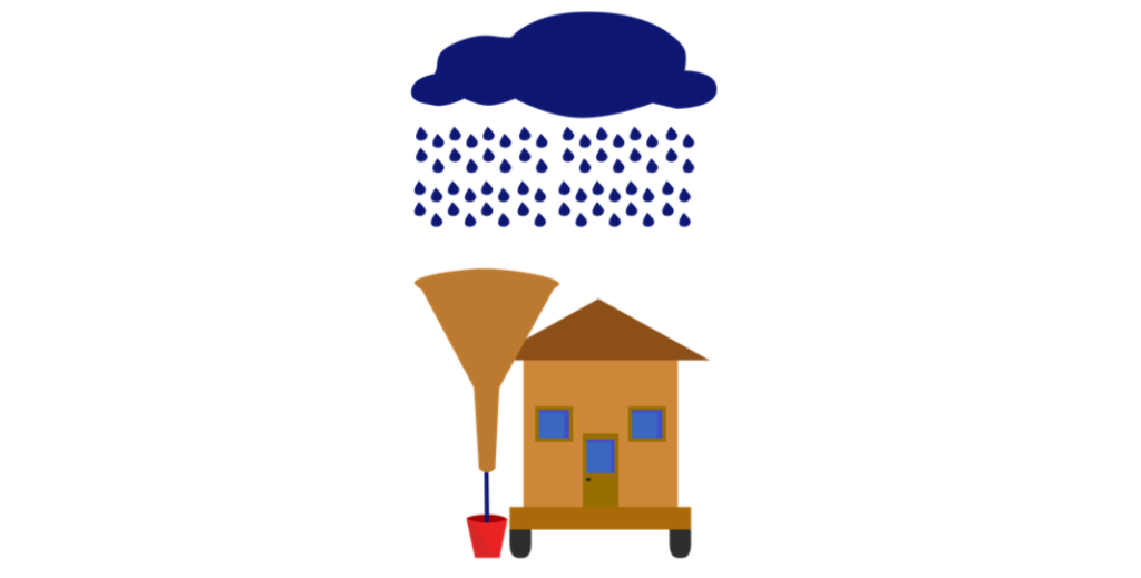tiny house rainwater collecting illustration
