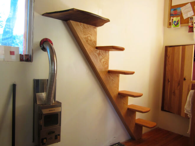 skinny wooden staircase