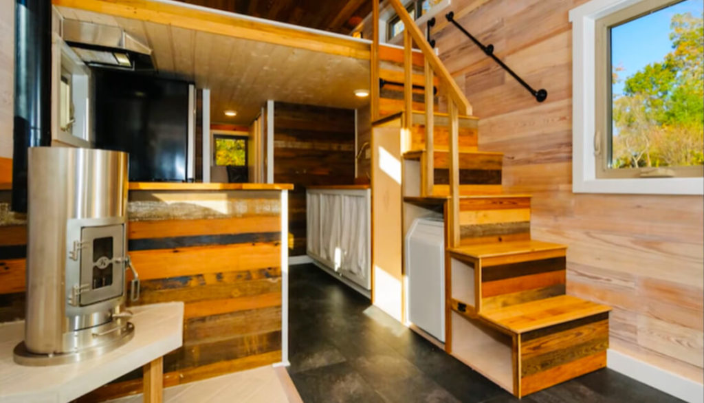 tiny house with beautiful wooden stairs