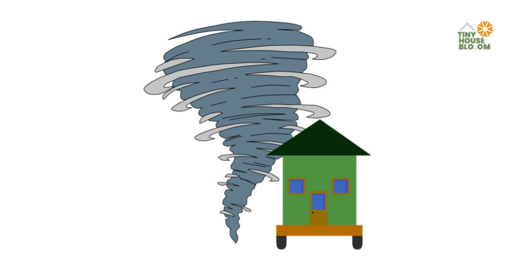 hurricane and tiny house on wheels illustration